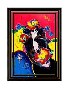 PETER MAX Original Signed PAINTING Large POP ART LADY with FLOWERS Acrylic Rare