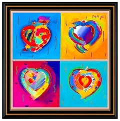 PETER MAX Original Signed PAINTING Large THE HEART SUITE Pop ART Acrylic Oil