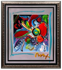 PETER MAX Original Signed PAINTING POP ART FLOWERS Acrylic Oil Iconic LOVE Vase