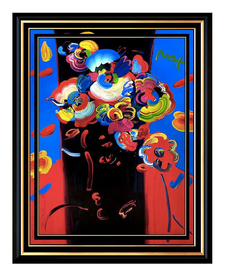 """New York Downtown Antiques Show 36/"""" by 24/"""" poster 1990 NYC art by Peter Max"""