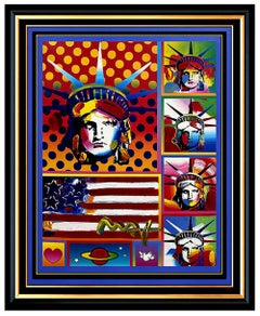 PETER MAX original signed PAINTING Statue of LIBERTY HEAD Art FLAG w HEART USA