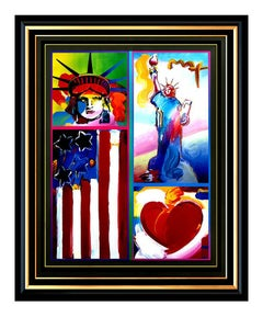 PETER MAX original signed PAINTING Statue of LIBERTY HEAD Art FLAG with HEART