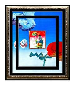 PETER MAX Original Signed PAINTING UMBRELLA MAN Pop ART Acrylic Oil Iconic