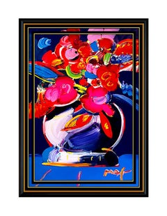 PETER MAX Original Signed PAINTING VASE OF FLOWERS Art Acrylic Still Life LARGE