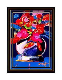PETER MAX Original Signed PAINTING VASE OF FLOWERS Art Acrylic Still Life LARGE