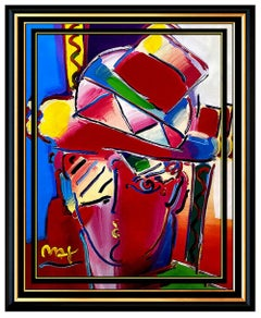 PETER MAX Original Signed PAINTING ZERO PRISM Pop ART Acrylic Oil Iconic MAN