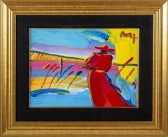 Peter Max Walking in Reeds Original Acrylic Painting on Lithography Paper