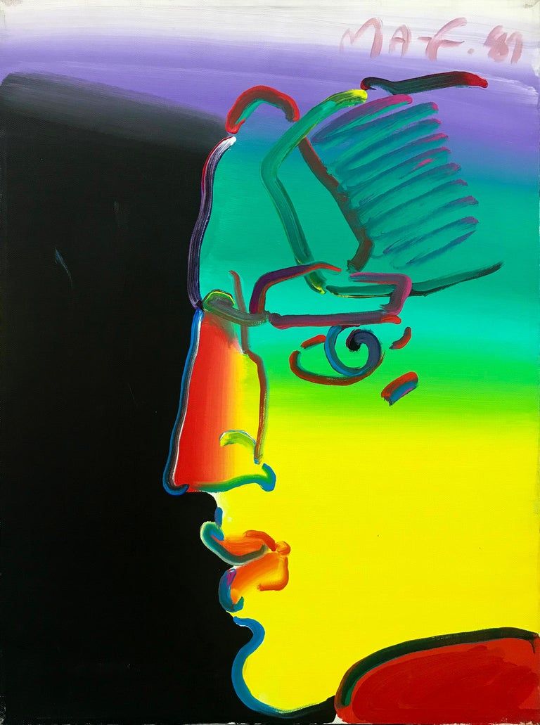 Peter Max Portrait Painting - PROFILE (RAINBOW)