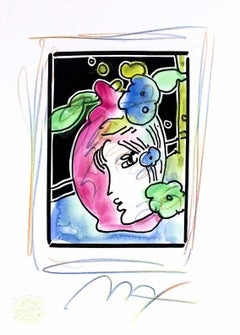 Profile With Vase (B&W Series), Mixed Media Painting, Peter Max - SIGNED