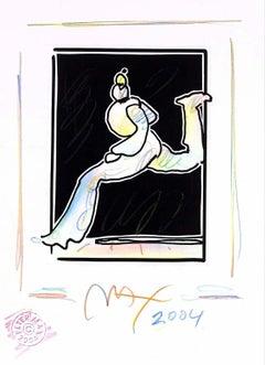 Runner (B&W Series), Original Mixed Media Painting, Peter Max - SIGNED