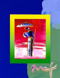 Sage W/Umbrella & Cane/Blends, Mixed Media Painting, Peter Max - SIGNED