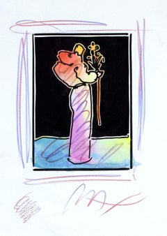 Sage With Flowers (B&W Series), Mixed Media Painting, Peter Max - SIGNED