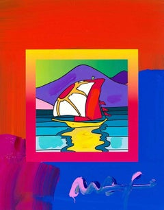 Sailboat East On Blends, Orig Mixed Media Painting, Peter Max - SIGNED
