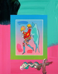 Tip Toe Floating On Blends, Orig Mixed Media Painting, Peter Max - SIGNED