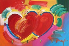 Two Hearts as One, Mixed Media Painting, Peter Max - SIGNED