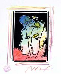 Two Profiles (B&W Series), Orig Mixed Media Painting, Peter Max - SIGNED