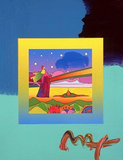 Two Sages With Stars On Blends, Mixed Media Painting, Peter Max - SIGNED