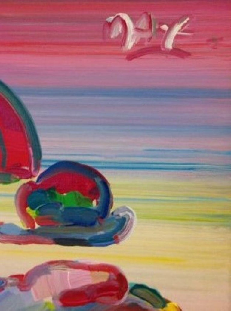 Umbrella Man-Framed Acrylic on Canvas. Signed, with Appraisal Document. - Painting by Peter Max