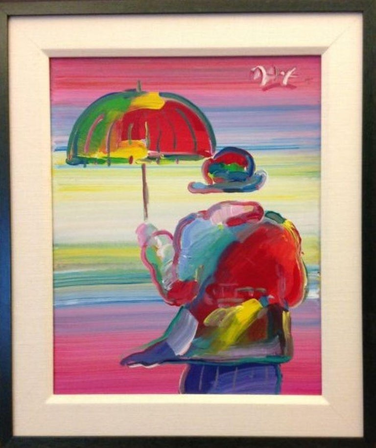Umbrella Man-Framed Acrylic on Canvas. Signed, with Appraisal Document. - Brown Portrait Painting by Peter Max