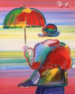 Umbrella Man-Framed Acrylic on Canvas. Signed, with Appraisal Document.