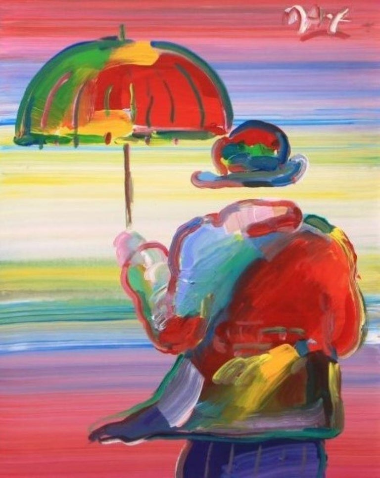 Peter Max Portrait Painting - Umbrella Man-Framed Acrylic on Canvas. Signed, with Appraisal Document.