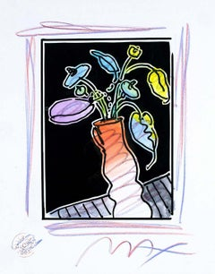 Vase Of Flowers I (B&W Series), Mixed Media Painting, Peter Max - SIGNED