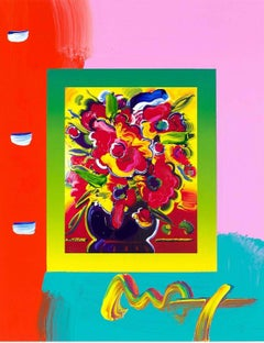 Vase Of Flowers On Blends, Orig Mixed Media Painting, Peter Max - SIGNED
