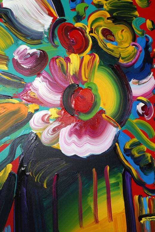 Peter Max Vase Of Flowers Acrylic Painting On Canvas By Peter Max
