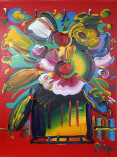 Vase of Flowers, Acrylic Painting on Canvas by Peter Max