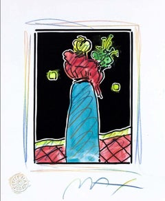 Woman With Flowers (B&W Series), Mixed Media Painting, Peter Max - SIGNED