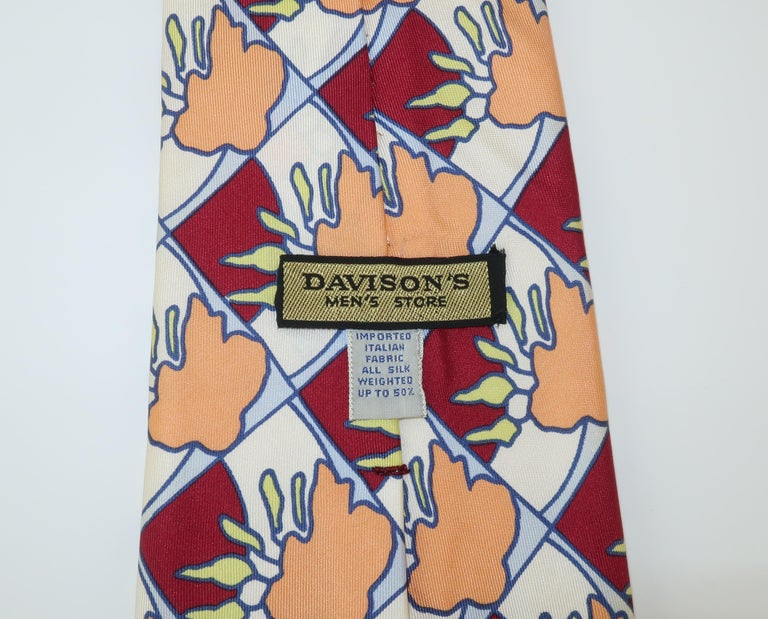 Men's Peter Max Pop Art Italian Silk Necktie, 1960's For Sale
