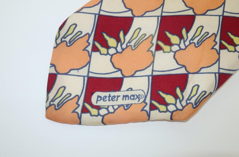 Peter Max Pop Art Italian Silk Necktie, 1960's In Fair Condition For Sale In Atlanta, GA