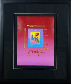 """ LOVE "" by Peter Max unique mixed media on paper"
