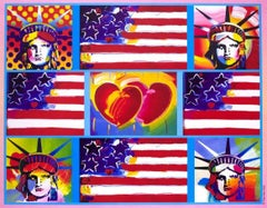 4 Liberty Heads, Original 2005 Lithograph, Peter Max -SIGNED