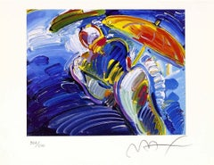 Abstract Figure With Umbrella, Ltd Ed Lithograph, Peter Max - SIGNED