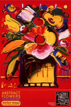 Abstract Flowers, Original 1999 Lithograph, Peter Max -SIGNED