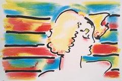 AMERICAN WOMAN Original Lithograph, Pop Art Portrait, Blonde Woman, Stripes