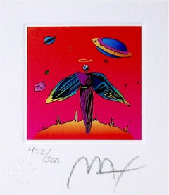 """Angel w/ Saturn, Limited Edition Litho (Mini 3.5"""" x 3""""), Peter Max SIGNED"""