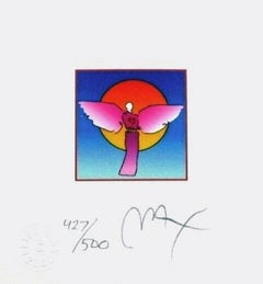 "Angel w/ Sun II, Limited Edition Litho Mini 4.875"" x 4.5"" Peter Max SIGNED"