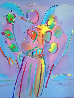 ANGEL WITH HEART Signed Lithograph, Spiritual Guardian Angel, Pop Art