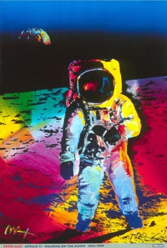 Apollo 11-Walking On The Moon, Original 1999 Lithograph, Peter Max -SIGNED