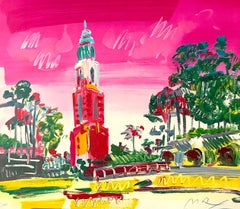 BALBOA PARK Signed Lithograph, Abstract Landscape, San Diego, Red, Pink, Yellow