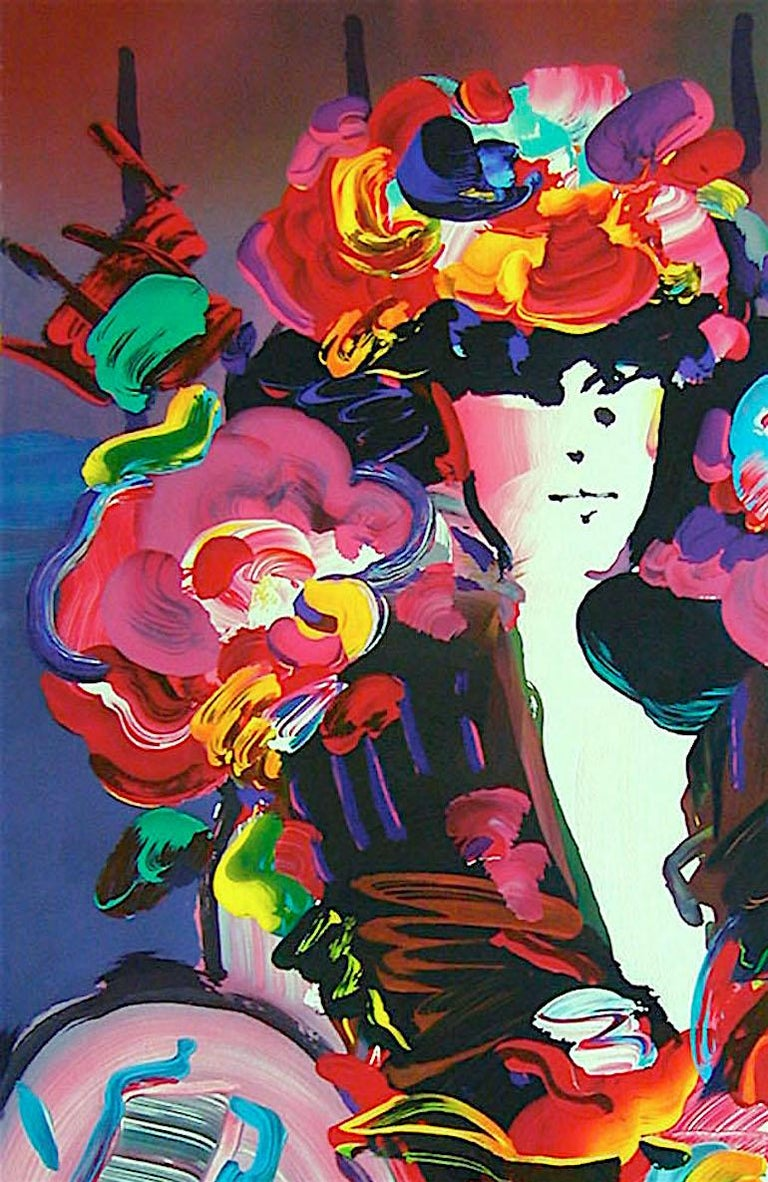Brown Lady II, Signed Lithograph, Female Portrait, Colorful Flowers - Print by Peter Max