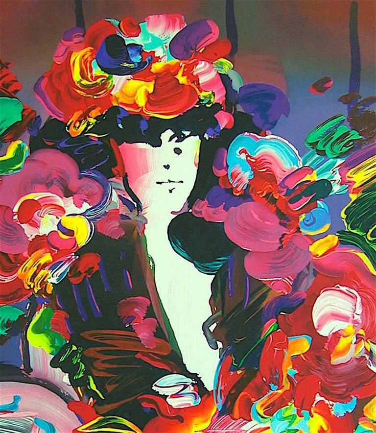 Brown Lady II, Signed Lithograph, Female Portrait, Colorful Flowers - Black Portrait Print by Peter Max