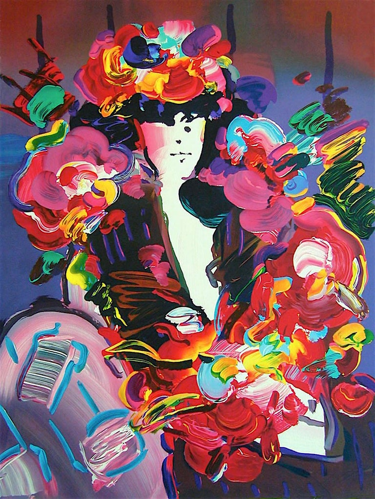 Peter Max Portrait Print - Brown Lady II, Signed Lithograph, Female Portrait, Colorful Flowers