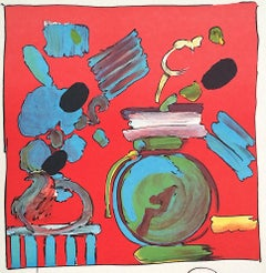 COMPOSITION RED Signed Lithograph, Abstract Floral Still Life, Round Blue Vase