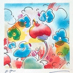 COSMIC FLOWERS Signed Lithograph, Abstract Floral, Happy Colors, Blue Red Yellow
