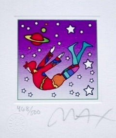 """Cosmic Flyer in Space, Ltd Ed Litho (Mini 3.5"""" x 3""""), Peter Max - SIGNED"""