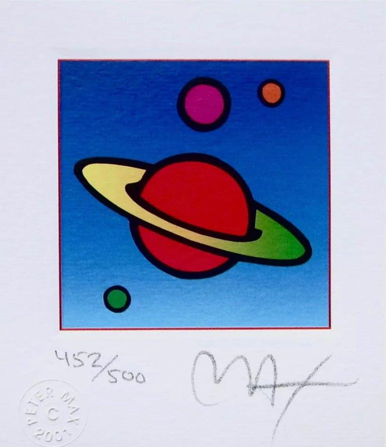 Peter Max Figurative Print - Cosmic Saturn