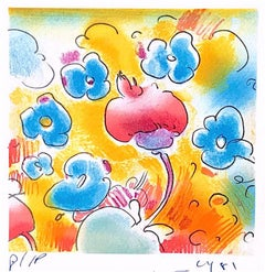 COSMIC SPRINGTIME Hand Drawn Lithograph, Colorful Abstract Floral, Pop Art